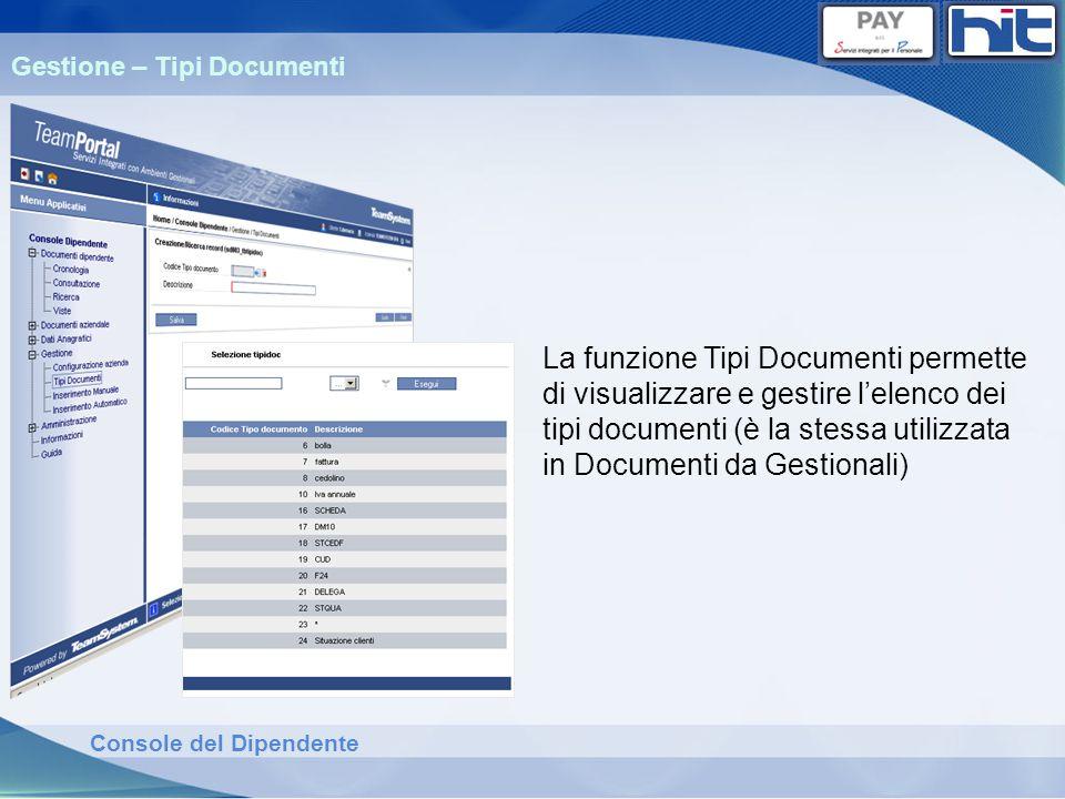 Gestione – Tipi Documenti