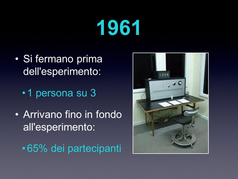 1961 Si fermano prima dell esperimento: 1 persona su 3