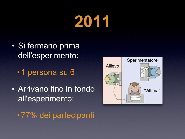 2011 Si fermano prima dell esperimento: 1 persona su 6