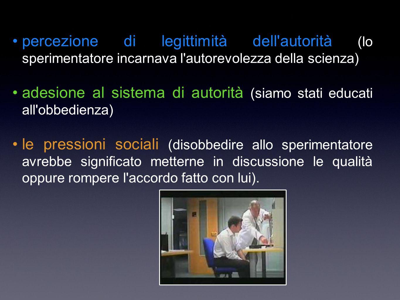 adesione al sistema di autorità (siamo stati educati all obbedienza)