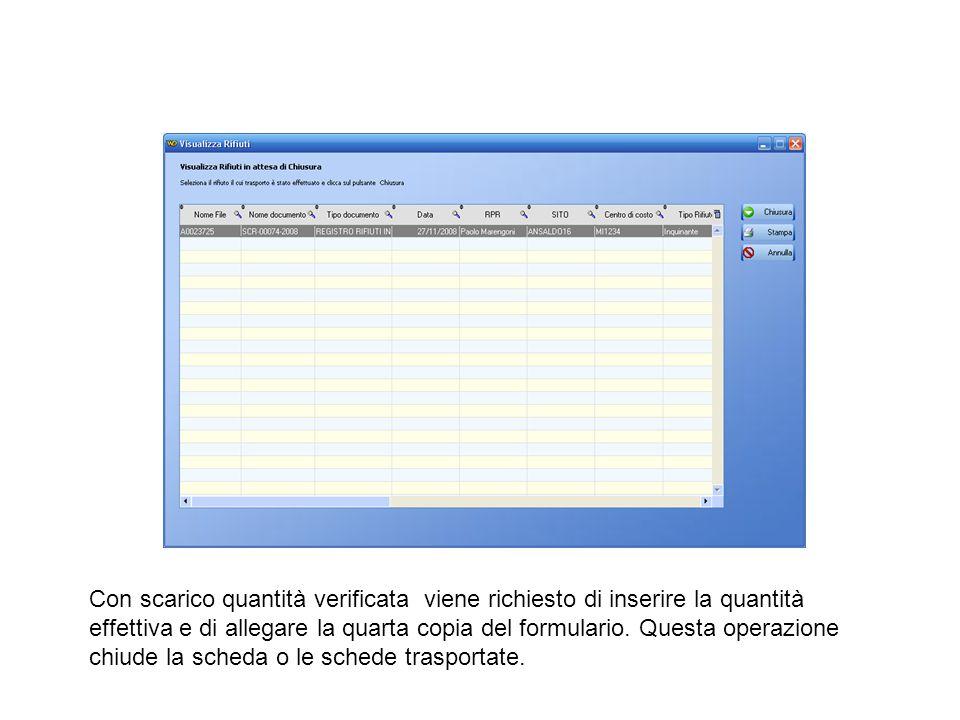 Con scarico quantità verificata viene richiesto di inserire la quantità effettiva e di allegare la quarta copia del formulario.