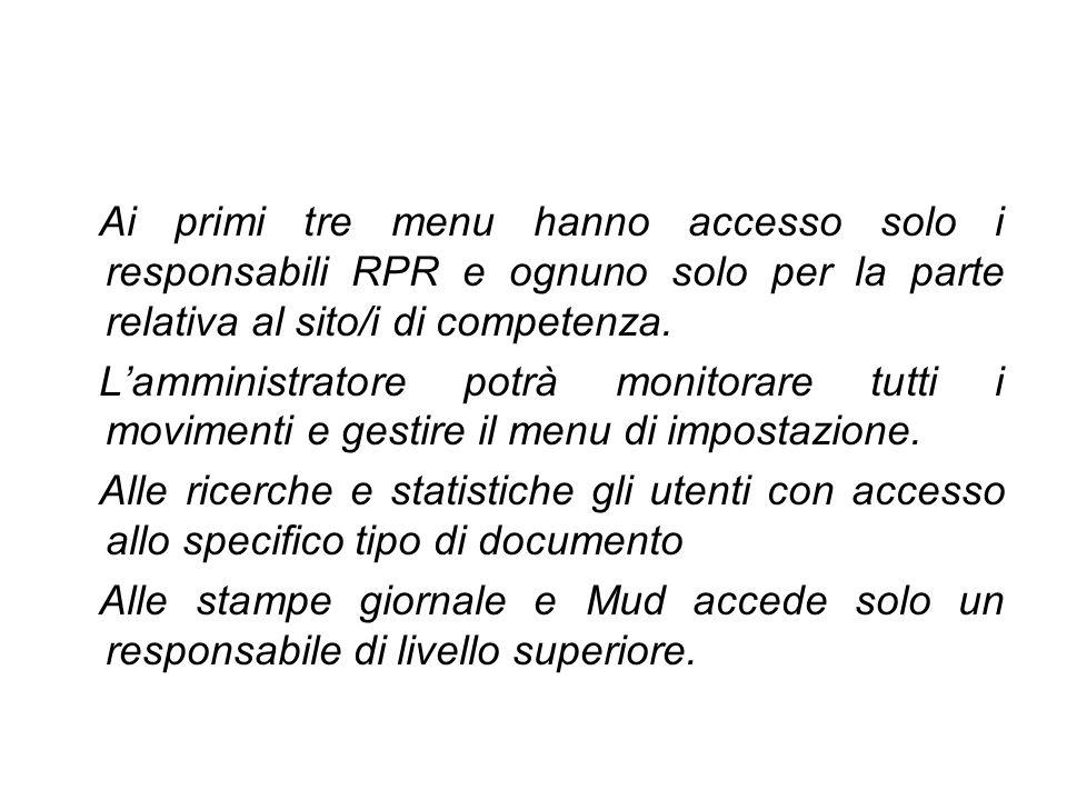 Ai primi tre menu hanno accesso solo i responsabili RPR e ognuno solo per la parte relativa al sito/i di competenza.