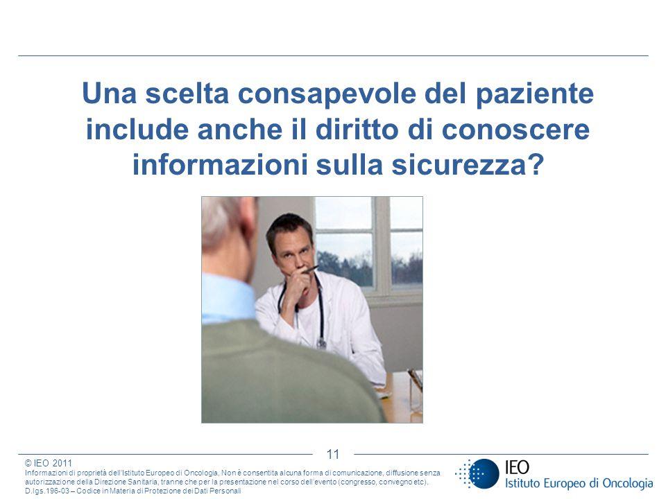 Una scelta consapevole del paziente include anche il diritto di conoscere informazioni sulla sicurezza