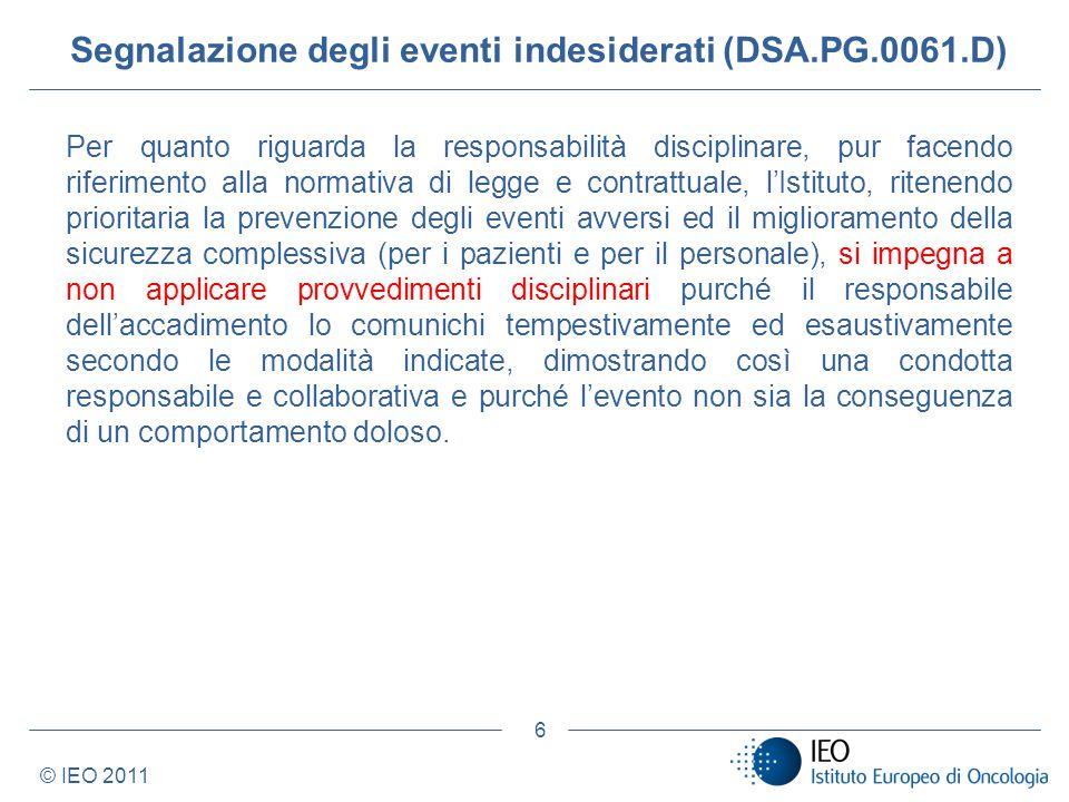 Segnalazione degli eventi indesiderati (DSA.PG.0061.D)