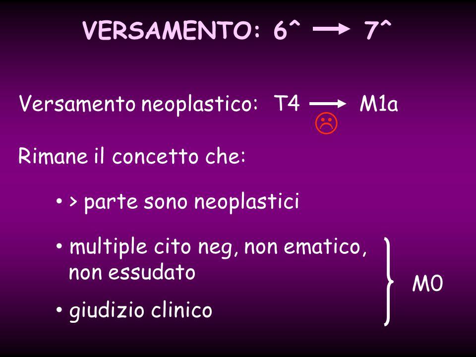  VERSAMENTO: 6^ 7^ Versamento neoplastico: T4 M1a