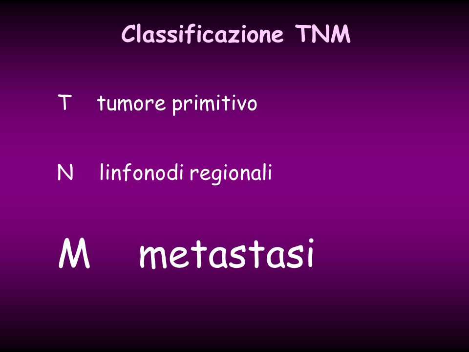 Classificazione TNM T tumore primitivo N linfonodi regionali