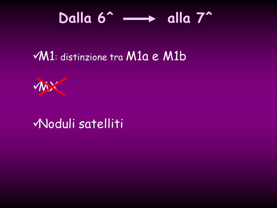 Dalla 6^ alla 7^ M1: distinzione tra M1a e M1b MX Noduli satelliti