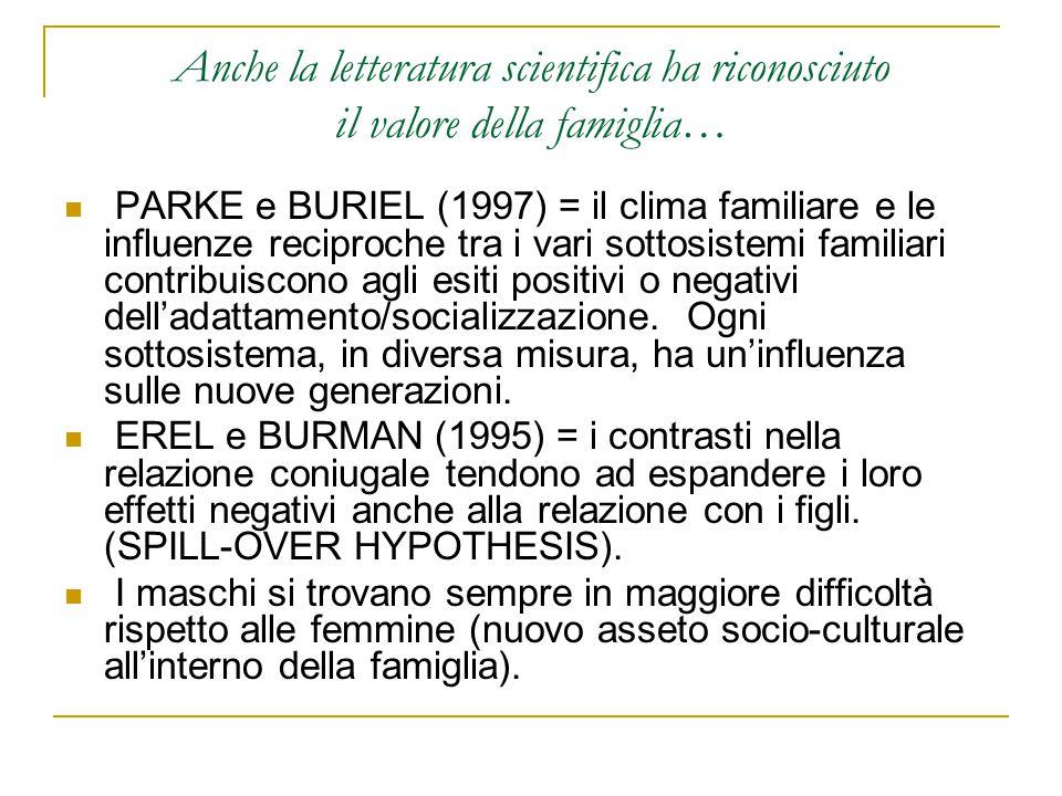 Anche la letteratura scientifica ha riconosciuto il valore della famiglia…