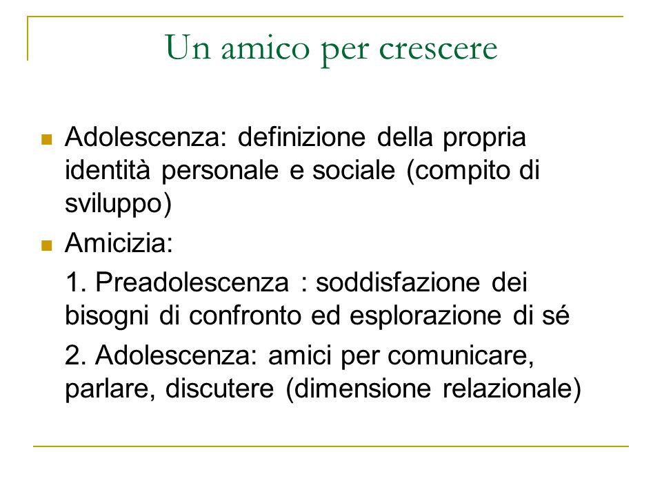 Un amico per crescere Adolescenza: definizione della propria identità personale e sociale (compito di sviluppo)