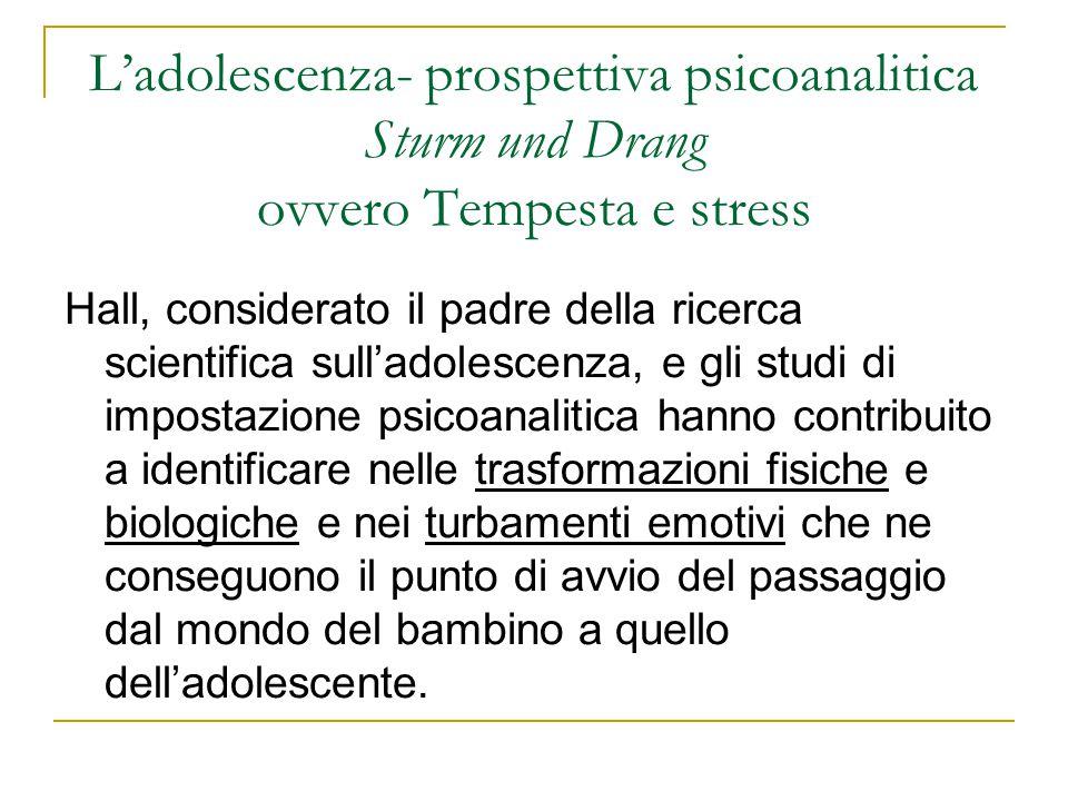 L'adolescenza- prospettiva psicoanalitica Sturm und Drang ovvero Tempesta e stress