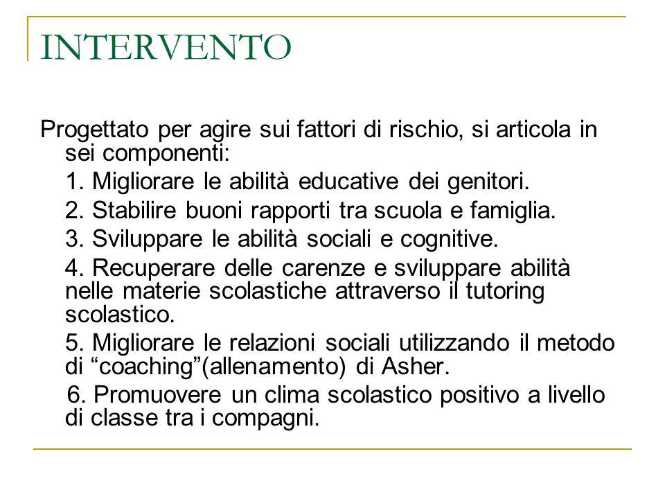 INTERVENTO Progettato per agire sui fattori di rischio, si articola in sei componenti: 1. Migliorare le abilità educative dei genitori.
