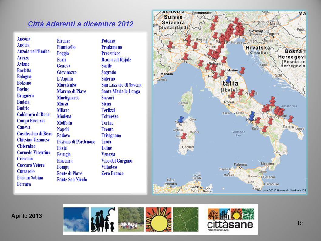 Città Aderenti a dicembre 2012