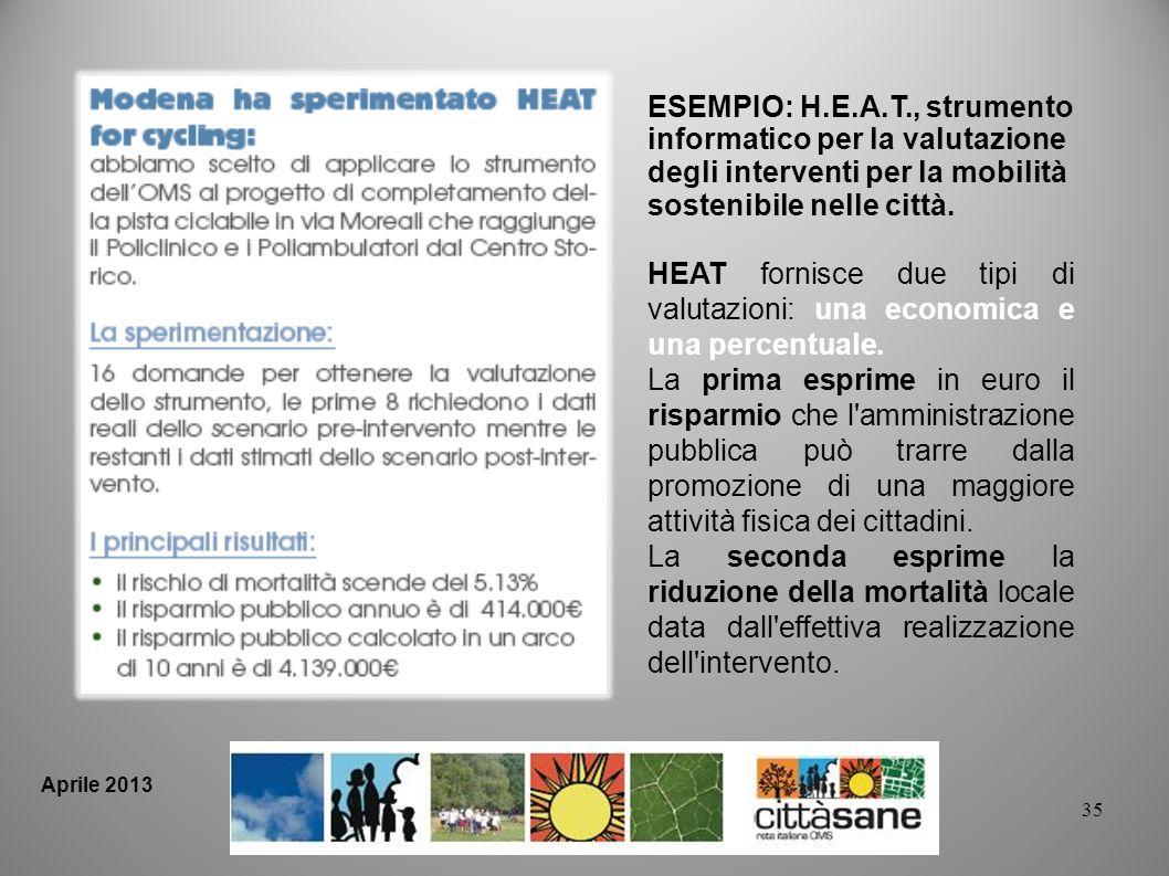 ESEMPIO: H.E.A.T., strumento informatico per la valutazione degli interventi per la mobilità sostenibile nelle città.