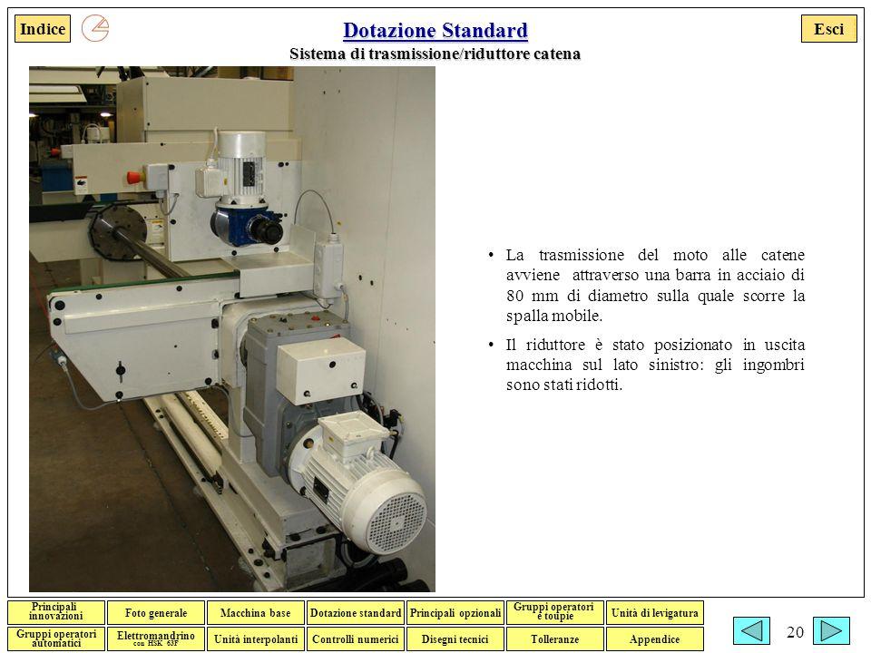 Dotazione Standard Sistema di trasmissione/riduttore catena