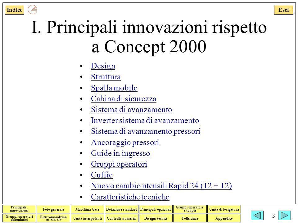 I. Principali innovazioni rispetto a Concept 2000