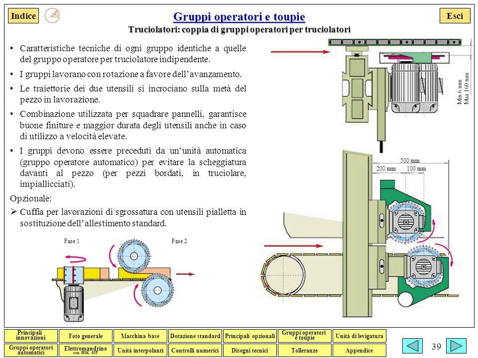 Gruppi operatori e toupie Truciolatori: coppia di gruppi operatori per truciolatori
