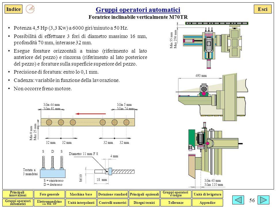 Gruppi operatori automatici Foratrice inclinabile verticalmente M70TR