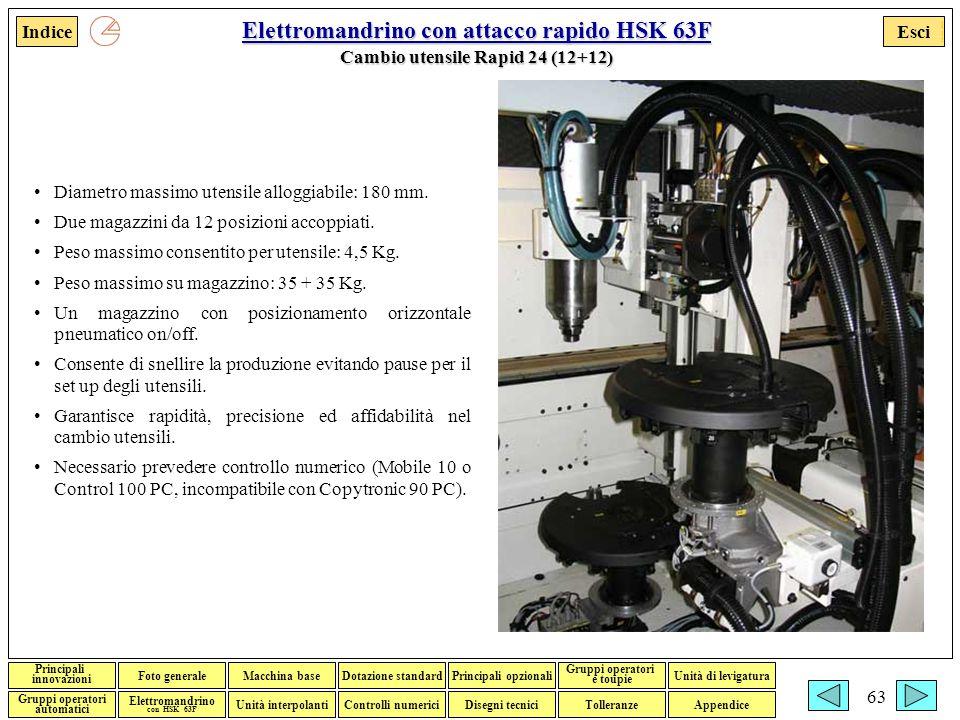Elettromandrino con attacco rapido HSK 63F Cambio utensile Rapid 24 (12+12)