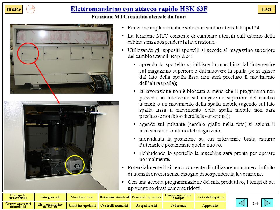 Elettromandrino con attacco rapido HSK 63F Funzione MTC: cambio utensile da fuori