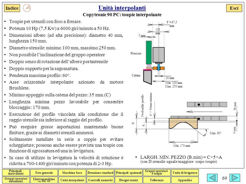 Unità interpolanti Copytronic 90 PC: toupie interpolante
