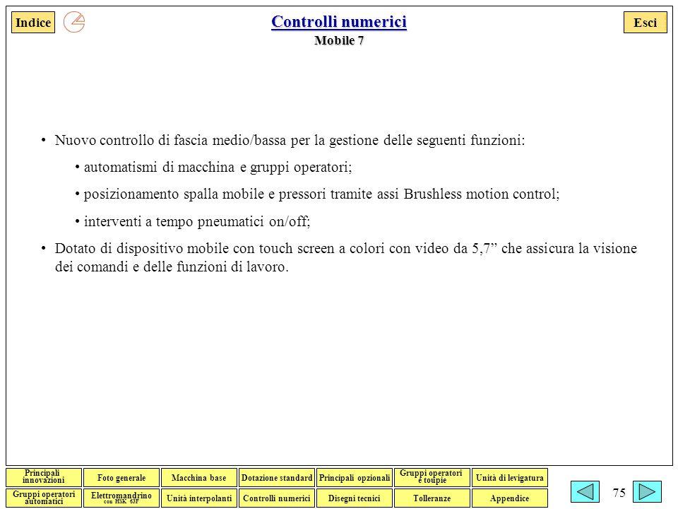 Controlli numerici Mobile 7. Nuovo controllo di fascia medio/bassa per la gestione delle seguenti funzioni: