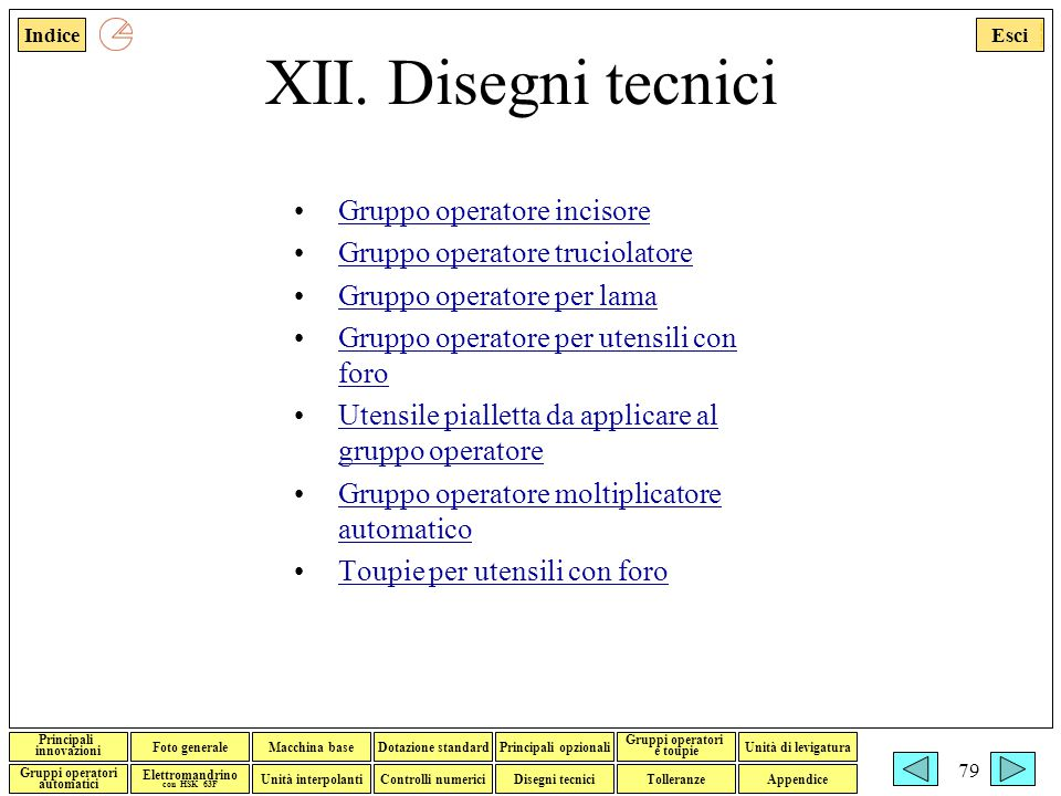 XII. Disegni tecnici Gruppo operatore incisore