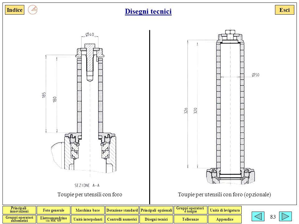 Disegni tecnici Toupie per utensili con foro