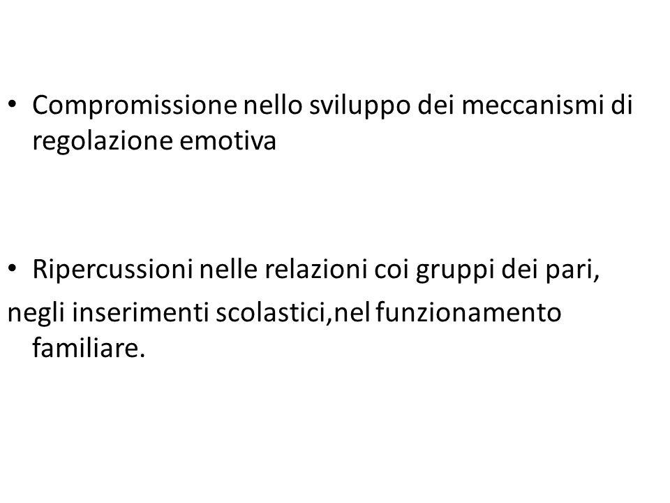 Compromissione nello sviluppo dei meccanismi di regolazione emotiva