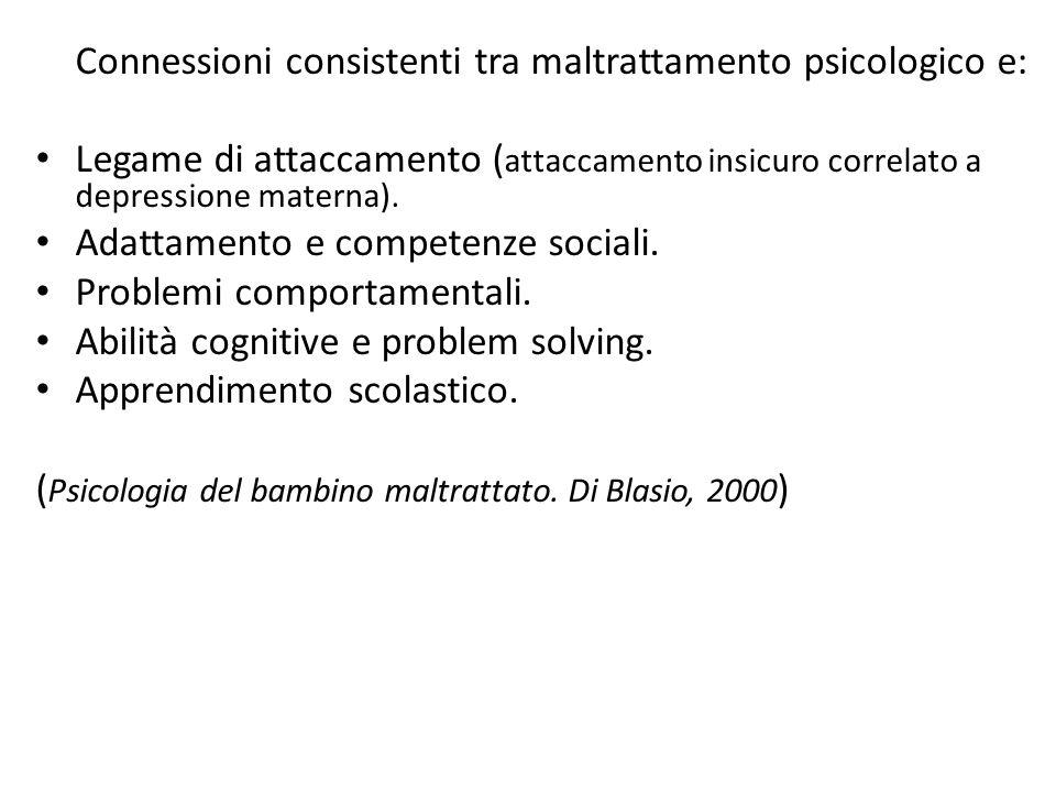 Connessioni consistenti tra maltrattamento psicologico e: