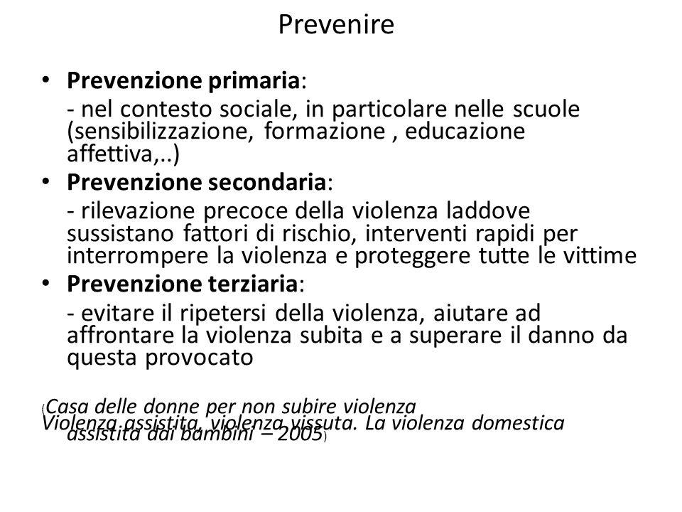 Prevenire Prevenzione primaria: