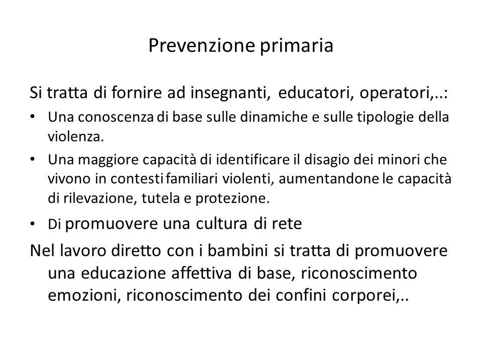 Prevenzione primaria Si tratta di fornire ad insegnanti, educatori, operatori,..: