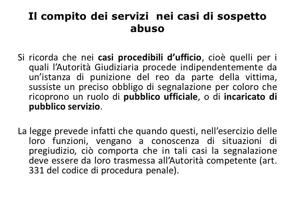 Il compito dei servizi nei casi di sospetto abuso