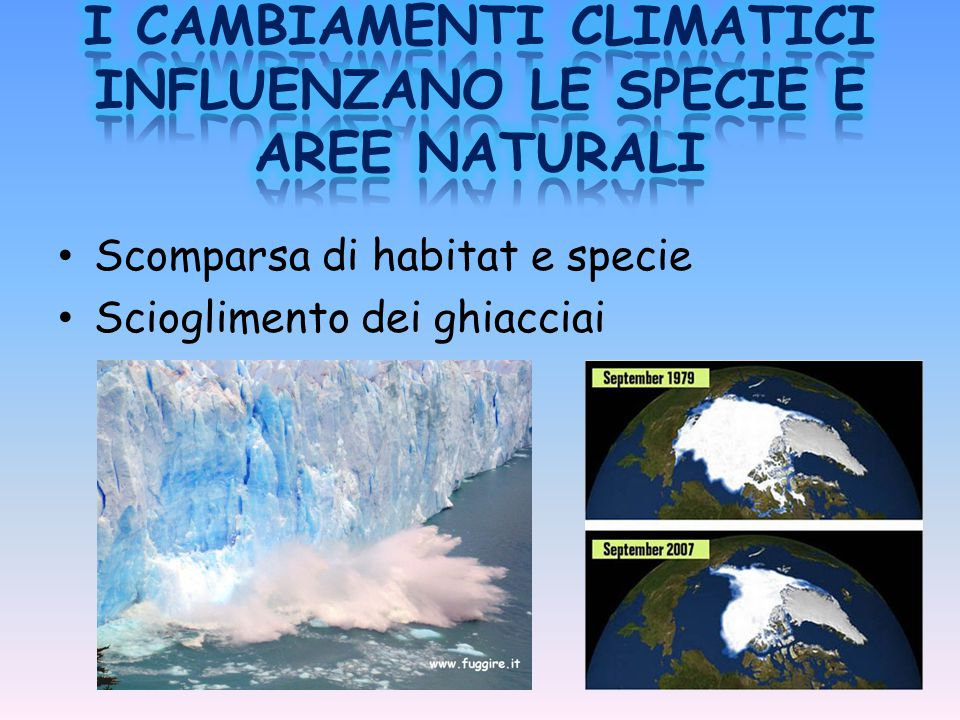 I CAMBIAMENTI CLIMATICI INFLUENZANO LE SPECIE E AREE NATURALI