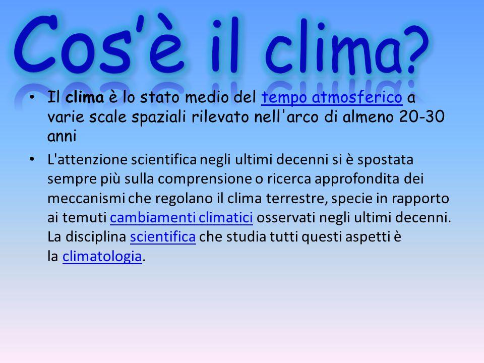 Cos'è il clima Il clima è lo stato medio del tempo atmosferico a varie scale spaziali rilevato nell arco di almeno 20-30 anni.