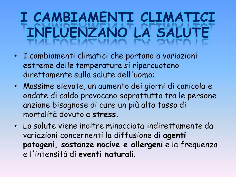 I CAMBIAMENTI CLIMATICI INFLUENZANO LA SALUTE