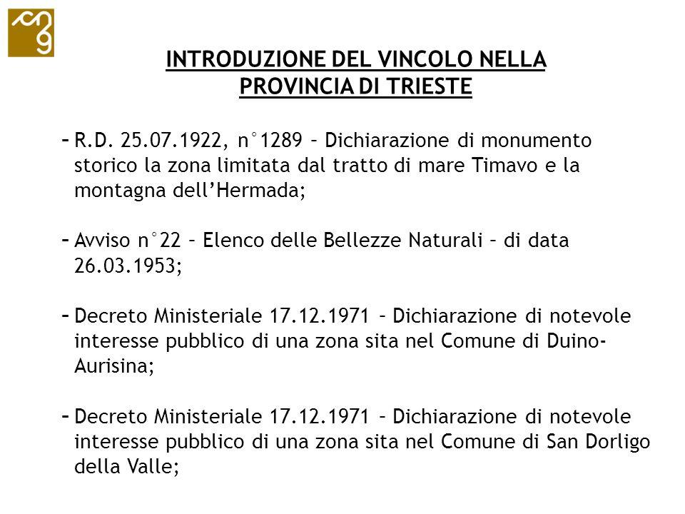INTRODUZIONE DEL VINCOLO NELLA