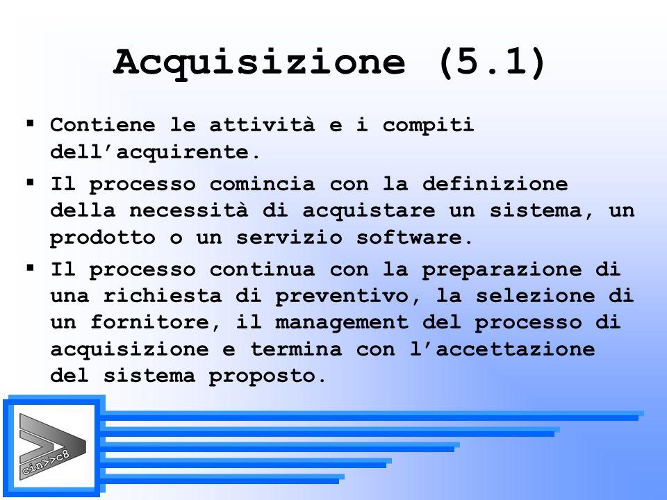 Acquisizione (5.1) Contiene le attività e i compiti dell'acquirente.