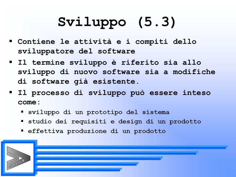 Sviluppo (5.3) Contiene le attività e i compiti dello sviluppatore del software.