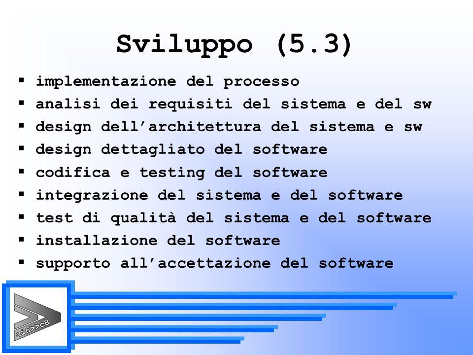 Sviluppo (5.3) implementazione del processo