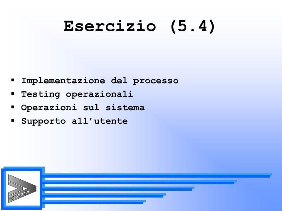 Esercizio (5.4) Implementazione del processo Testing operazionali