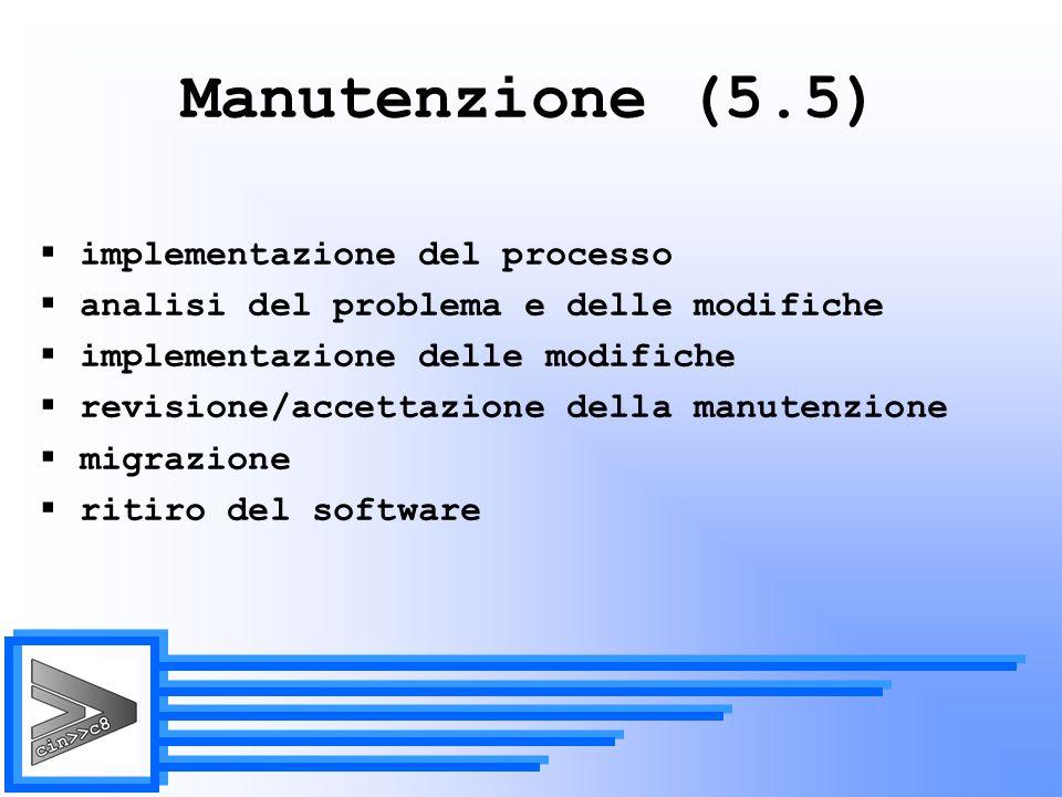 Manutenzione (5.5) implementazione del processo