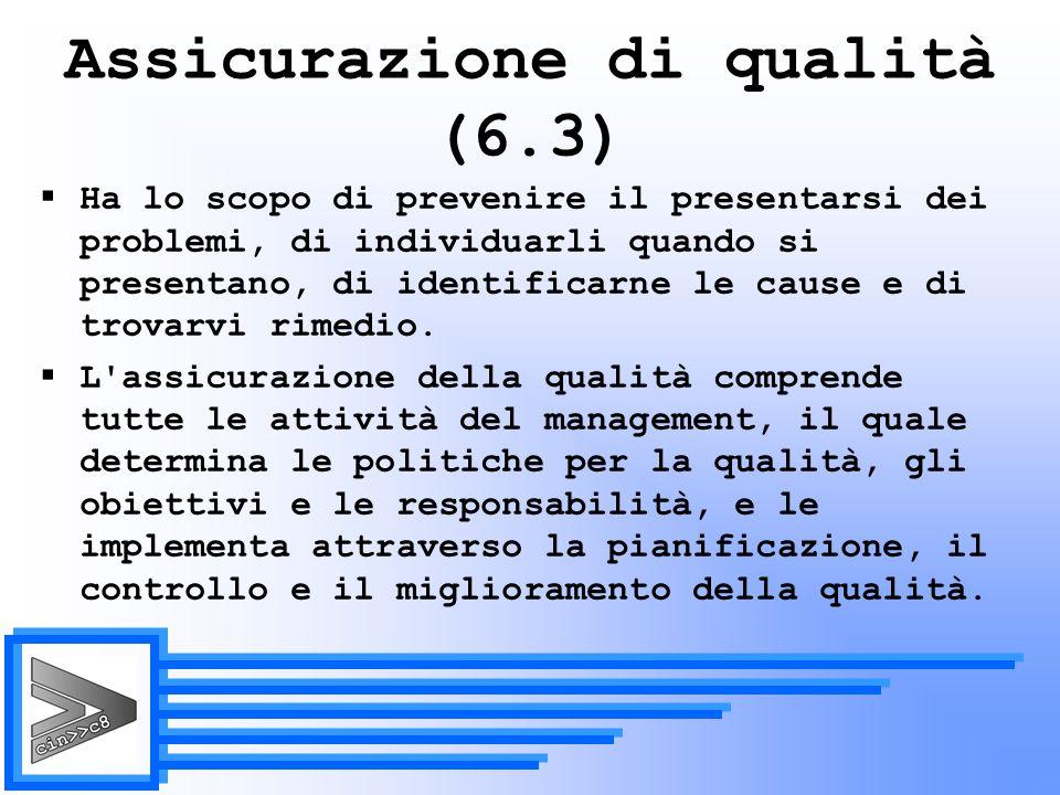 Assicurazione di qualità (6.3)