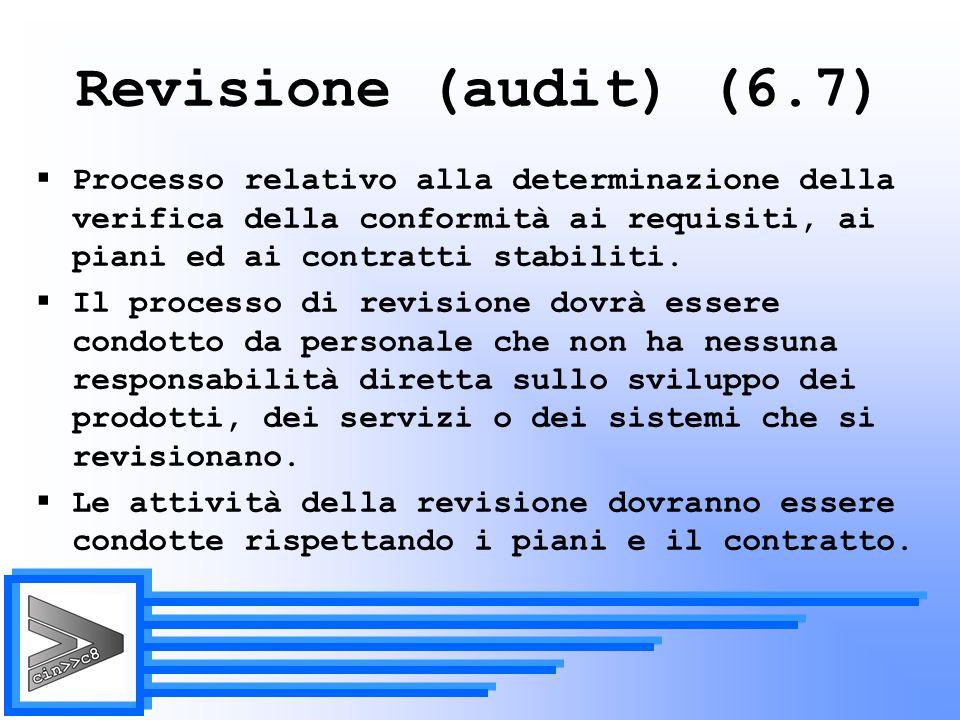 Revisione (audit) (6.7) Processo relativo alla determinazione della verifica della conformità ai requisiti, ai piani ed ai contratti stabiliti.