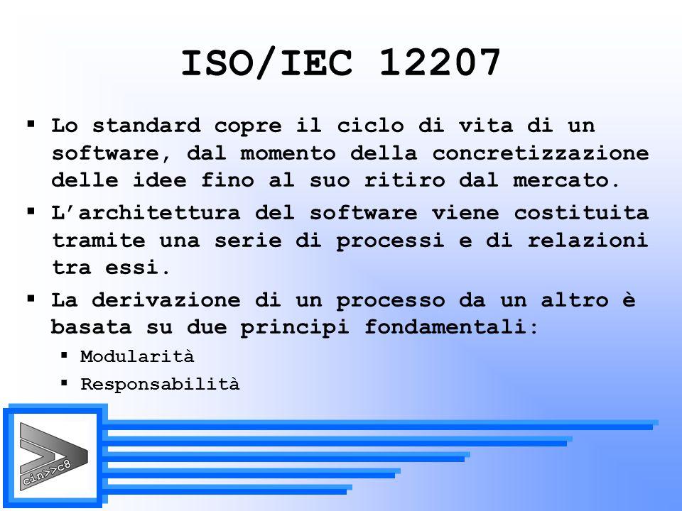 ISO/IEC 12207 Lo standard copre il ciclo di vita di un software, dal momento della concretizzazione delle idee fino al suo ritiro dal mercato.