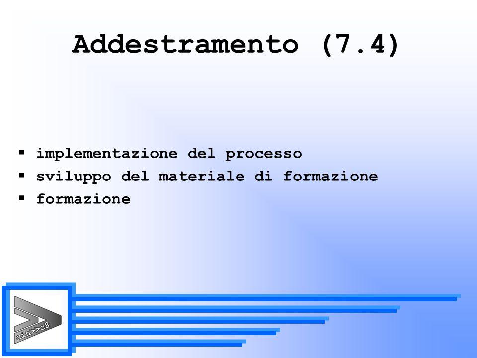Addestramento (7.4) implementazione del processo