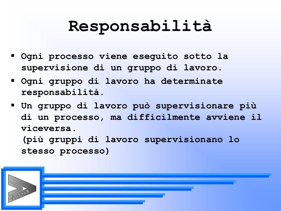Responsabilità Ogni processo viene eseguito sotto la supervisione di un gruppo di lavoro. Ogni gruppo di lavoro ha determinate responsabilità.