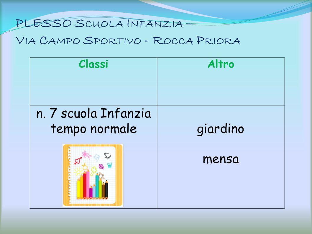 PLESSO Scuola Infanzia – Via Campo Sportivo - Rocca Priora