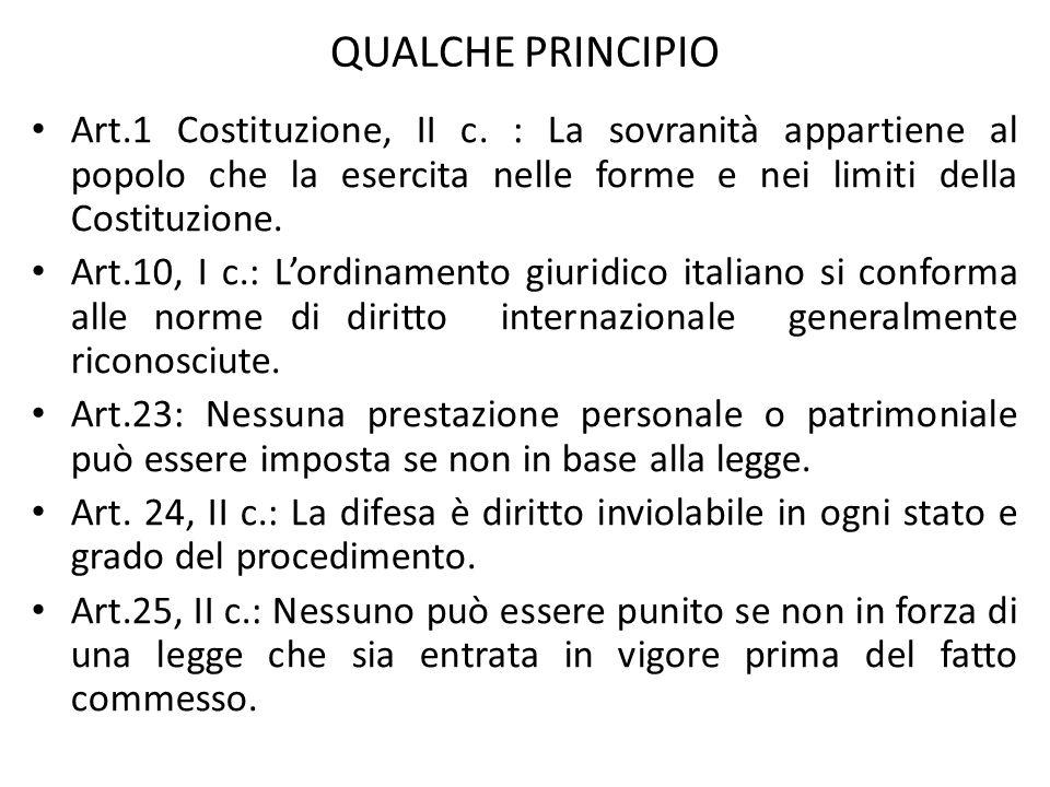 QUALCHE PRINCIPIO Art.1 Costituzione, II c. : La sovranità appartiene al popolo che la esercita nelle forme e nei limiti della Costituzione.