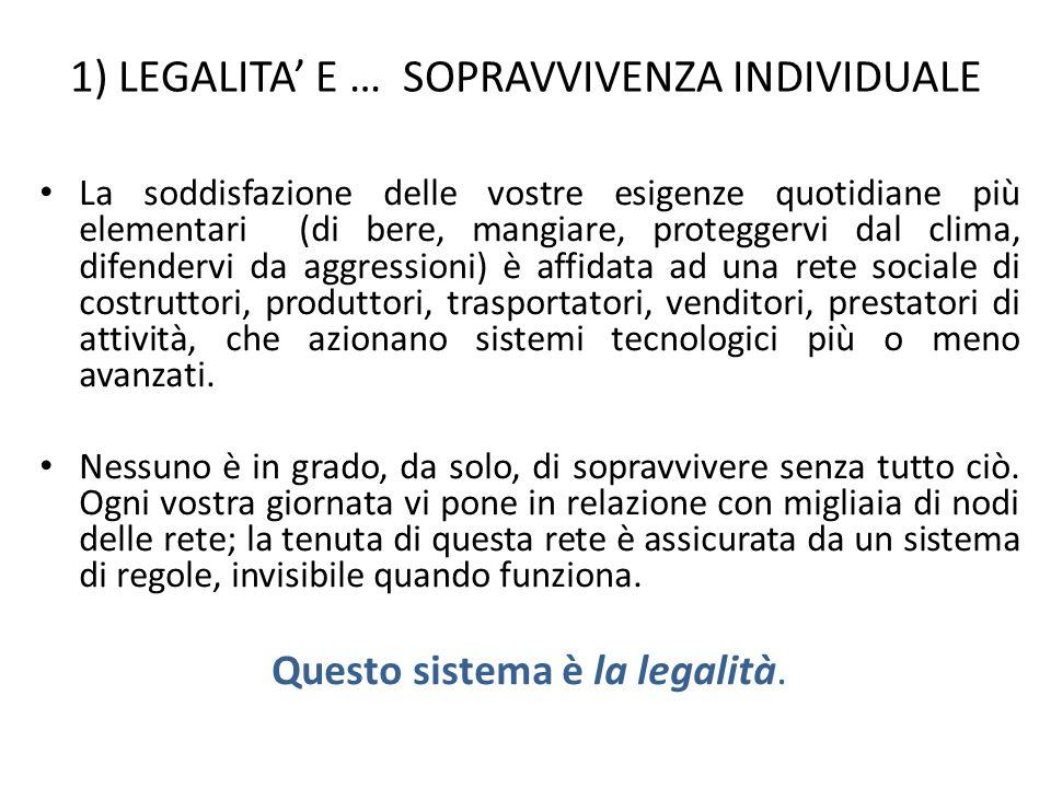 1) LEGALITA' E … SOPRAVVIVENZA INDIVIDUALE