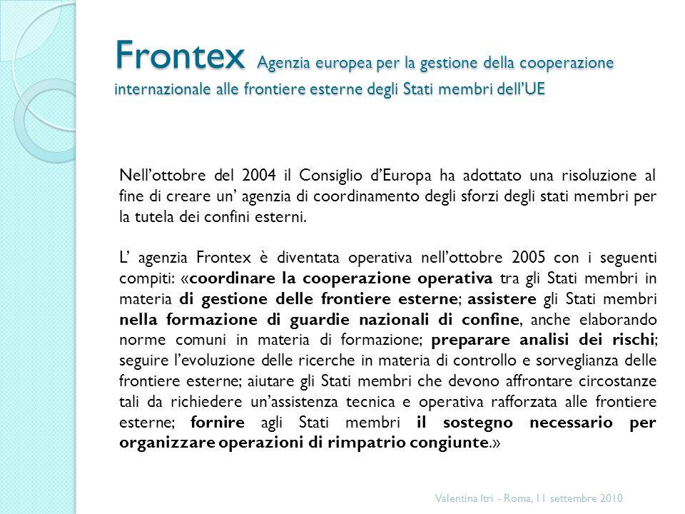 Frontex Agenzia europea per la gestione della cooperazione internazionale alle frontiere esterne degli Stati membri dell'UE